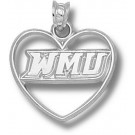 "Western Michigan Broncos ""WMU"" Heart Pendant - Sterling Silver Jewelry"