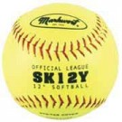 "12"" Yellow Synthetic Cover Softballs from Markwort - (One Dozen)"