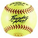 """12"""" Spalding Thunder Heat WT12 Red Stitch .47 COR Yellow Leather Softballs from Dudley - (One Dozen)"""
