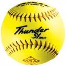 """12"""" .47 Core Thunder SY Red Stitch Synthetic Yellow Softballs from Dudley - One Dozen"""