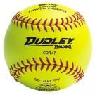 """12"""" Spalding SB12L Cork Center .47 COR Red Stitch NFHS Yellow Fast Pitch Softballs from Dudley - (One Dozen)"""