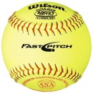 """12"""" A9031B ASA Yellow Raised Seam Softballs from Wilson - (One Dozen)"""