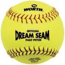 "Official 12"" Dream Seam Fast Pitch Softballs from Worth - 1 Dozen"