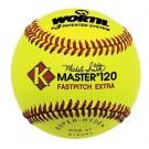 K-Master Red Stitch Yellow Super-hyde Softballs from Worth - (One Dozen)