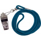 Nickel Plated Whistles and Blue Lanyards - 1 Dozen