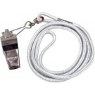 Nickel Plated Whistles and White Lanyards - 1 Dozen