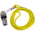 Nickel Plated Whistles and Yellow Lanyards - 1 Dozen