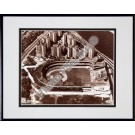 """Polo Grounds, New York Giants, Aerial View, Sepia, Double Matted  8"""" X 10"""" Photograph in Black Anodized Aluminum Frame"""