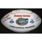 Danny Wuerffel and Chris Leak Dual Autographed Florida Gators 2x National Championship Logo Full Size Football with INSCRIPTIONS