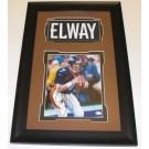 "John Elway Autographed Denver Broncos 8"" x 10"" Custom Framed Photograph with Jersey Nameplate"