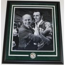 "Red Auerbach and Bob Cousy Dual Autographed B+W 16"" x 20"" Boston Celtics Custom Framed Photograph with team medallion"