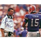 "Urban Meyer Autographed (With Tim Tebow) 8"" x 10"" Photograph with ""06 NAT CHAMPS"" Inscription (Unframed)"