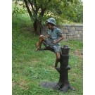 """""""Catch of the Day (Boy Fishing on Tree)"""" Fountain Bronze Garden Statue - Approx. 34"""" High"""