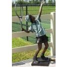 """""""Boy Tennis Ace"""" Bronze Garden Statue - 62"""" High"""