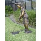 """""""Future Golf Champ-Girl"""" Bronze Garden Statue - 36"""" High"""