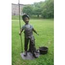 """""""Farmer Boy"""" Bronze Garden Statue - Approx. 42"""" High"""