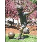 """""""Soccer Action Boy in Training"""" Bronze Garden Statue - 36"""" High"""