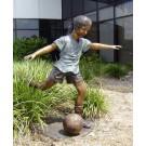 """Girl Soccer Star"" Bronze Garden Statue - 48"" High"