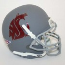 Washington State Cougars NCAA Mini Authentic Football Helmet from Schutt - Silver with Maroon logo
