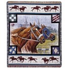 """""""Day at the Races"""" 50"""" x 60"""" Tapestry Throw Blanket From Simply Home"""