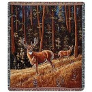 """""""Whitetail Morning"""" 50"""" x 60"""" Tapestry Throw Blanket From Simply Home"""