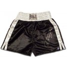 Joe Frazier Autographed Everlast Black Trunks with White Trim