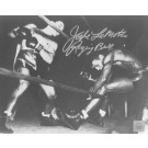 "Jake LaMotta Autographed ""Knocking Sugar Ray Robinson Through Ropes February 1943"" 16"" x 20"" Black & White Photograph  (Unframed)"