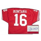 Joe Montana Autographed Authentic Red San Francisco 49ers Throwback Jersey