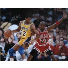 "Magic Johnson Autographed ""vs. Michael Jordan"" 16"" x 20"" Photograph (Unframed)"