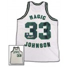 Magic Johnson Autographed Custom White Throwback Basketball Jersey