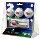 Massachusetts Minutemen 3 Ball Golf Gift Pack with Kool Tool