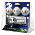 Miami Hurricanes 3 Ball Golf Gift Pack with Kool Tool