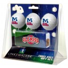 Mississippi (Ole Miss) Rebels 3 Ball Gift Pack with Hat Clip