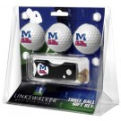 Mississippi (Ole Miss) Rebels 3 Golf Ball Gift Pack with Spring Action Tool