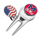 Mississippi (Ole Miss) Rebels Divot Tool Hat Clip with Golf Ball Marker (Set of 2)