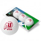 Utah Utes Top Flite XL Golf Balls 3 Ball Sleeve (Set of 3)