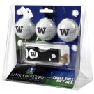 Washington Huskies 3 Golf Ball Gift Pack with Spring Action Tool