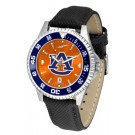 Auburn Tigers  Competitor AnoChrome Men's Watch with Nylon/Leather Band and Colored Bezel