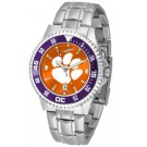 Clemson Tigers Competitor AnoChrome Men's Watch with Steel Band and Colored Bezel
