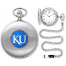 Kansas Jayhawks Silver Pocket Watch