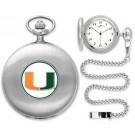 Miami Hurricanes Silver Pocket Watch
