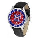 Mississippi (Ole Miss) Rebels Competitor AnoChrome Men's Watch with Nylon/Leather Band and Colored Bezel