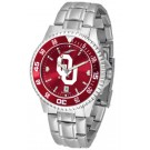 Oklahoma Sooners Competitor AnoChrome Men's Watch with Steel Band and Colored Bezel