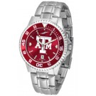 Texas A & M Aggies Competitor AnoChrome Men's Watch with Steel Band and Colored Bezel
