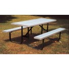 """8' Durable All Welded Picnic Table With 2"""" x 10"""" x 8' Redwood Stained Pine Planks"""