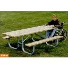 8' Wheelchair Accessible Extra Heavy Duty All Welded Picnic Table With Top of  Gray Recycled Plastic Planks