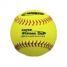 """11"""" Green Dot® Red Stitch ProTAC Yellow Cover Softballs from Worth - 1 Dozen"""